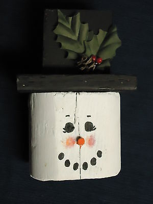 """6.75"""" Handcrafted & Painted Wood COUNTRY CHRISTMAS SNOWMAN HEAD FIGURINE"""