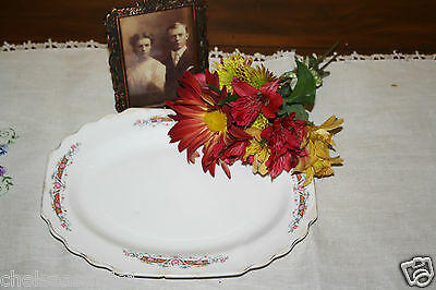 """W. S. George """" Lido """" White U. S. A. Dinnerware Oblong Platter Floral Roses Rust"""