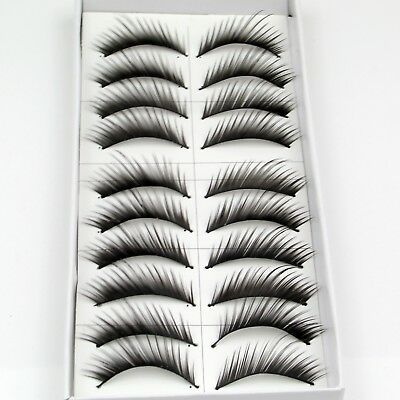 Brand New 10 Pairs Natural False Eyelashes Fake Makeup Eye Lashes Lash Glue -EU-
