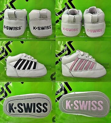 New K-SWISS Soft Cribs Trainers Toddlers Boys Girls White Navy Pink Size 0 1 2 3
