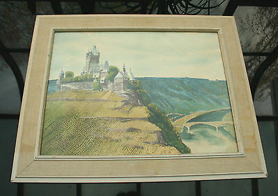 1950s German watercolor painting of Reichsburg Cochem castle signed Eickemeyer?