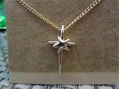 Vintage Religious Gold Beautiful Cross w/Star ~ NEW & Low Price w/FREE SHIP!