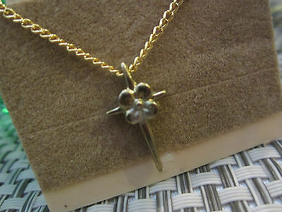 Vintage Religious Gold Beautiful Cross w/Flower ~ NEW & Low Price w/FREE SHIP!