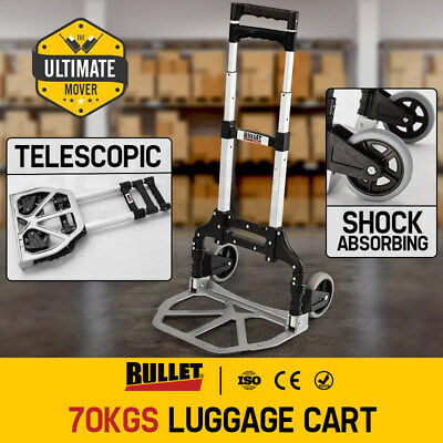 Folding Luggage Trolley Compact Aluminium Travel Cart Heavy Duty Alloy Portable
