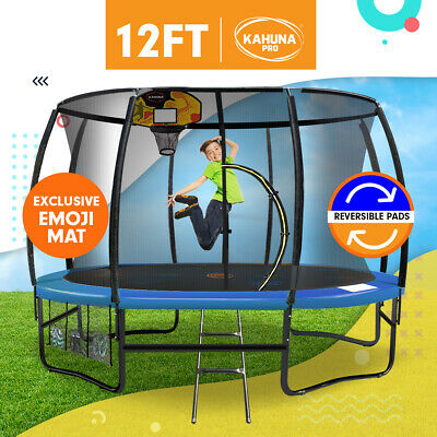 12ft Trampoline Free Safety Net Spring Pad Cover Mat Ladder Bonus Basketball Set