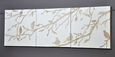 """""""BIRDS IN SPRING""""-3 PANEL WALL ART-WHITE-HAND CARVED WOOD-timber carving-NEW"""