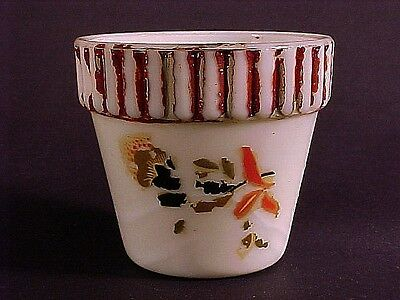 Vintage Unusual Akro Agate Decorated Rib Top Pot / Decal + Painting + DoubleMark