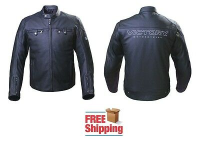 Victory Classic Motorcycle Jacket Leather W/ Quilted Liner Shoulder Elbow Armor