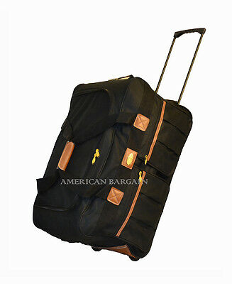 "New22"" Black Durable Rolling Wheeled Duffel Bag Travel Luggage Suitcase Carry On"