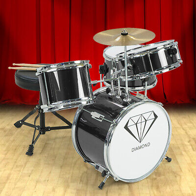 NEW CHILDRENS 4 PIECE BLACK DIAMOND DRUM KIT SET MUSICAL INSTRUMENT ,kids