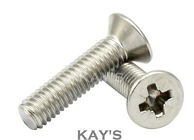 M2 (2mmØ) POZI COUNTERSUNK MACHINE SCREWS A2 STAINLESS POZIDRIVE CSK BOLTS,KAY'S
