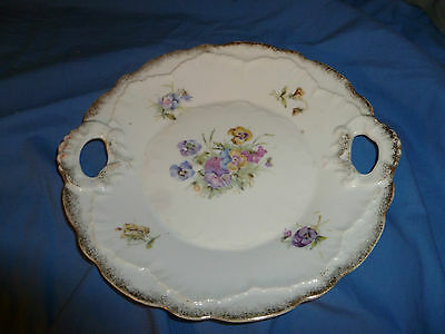 Vintage Ceramic Floral Pattern Serving Bowl with Handles and Embossing