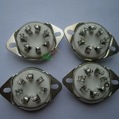4pcs New 7pin silver Ceramic vacuum tube socket top mount valve For 2A7 6A7 amp