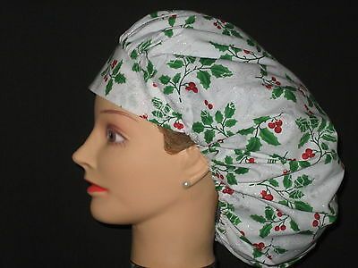 Surgical Scrub Hats/Caps~Christmas~Holly and Berries with Silver~