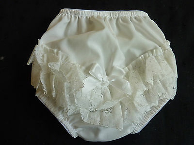CREAM/IVORY COTTON FRILLY GIRLS/BABY PANTS,LACE TRIM- 0-3m/ 3-6m/ 6-12m/ 12-18m.