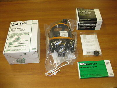 MSA Duo Twin Full Face Mask Respirator Package All New, Your Choice Sm, Md., LG.