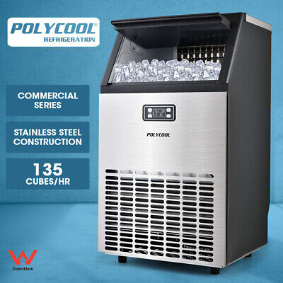 【20%OFF】POLYCOOL Commercial Ice Cube Maker Machine Stainless Steel