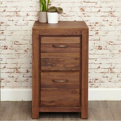 Grand Walnut Wood Furniture Small 2 Drawer A4 Filing Cabinet Storage Home Office