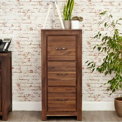 Grand Walnut Wood Furniture Tall 3 Drawer A4 Filing Cabinet Storage Home Office