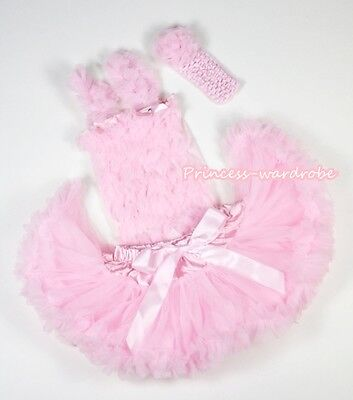 Newborn Light Pink Baby Pettiskirt Skirt Tutu Light Pink Ruffle Top 2P Set 3-12M