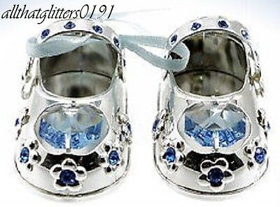 Crystal Temptations Silver Plated Baby Shoes Blue Christening/Newborn Gift