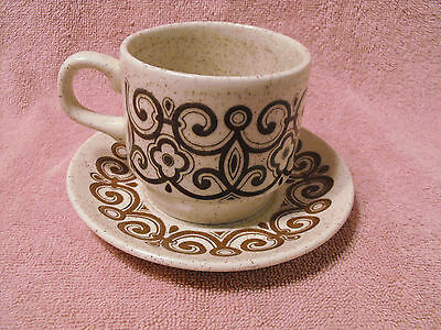 Biltons Staffordshire Tableware Cup And Saucer  Set Speckled Brown Oatmeal