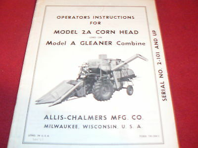 Allis Chalmers Gleaner A Combine Two Row Corn Head Operator's Manual
