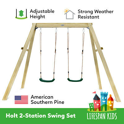 Lifespan Kids Holt2 Wooden Double Swing Set Playgrounds New Zealand Pine