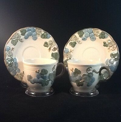 TWO - Metlox Poppytrail Sculptured Grape Cups & Saucers - 4 Pieces Total