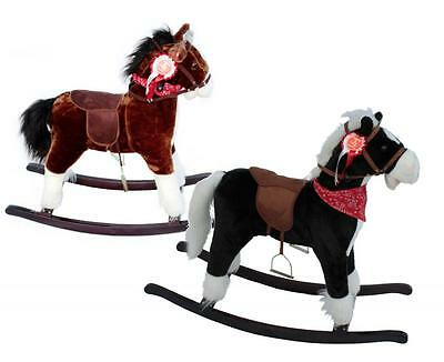 DELUXE PLUSH CHILD ROCKING HORSE Size Small Black / Brown with Bandana & Rosette
