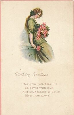 Glamour lady roses early artist signed birthday greetings ppc glamour lady roses early artist signed birthday greetings ppc m4hsunfo