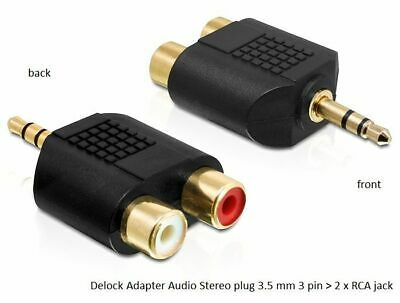 Delock Adapter Audio Stereo plug 3.5 mm 3 pin > 2 x RCA jack black gold-plated