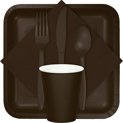 Chocolate Brown Party Supplies Pack - cutlery,plates,cups,napkins,forks,knives
