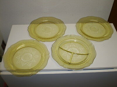 Federal Patrician Spoke Depression Glass Yellow 3 Dinner 1 Divided Plates VTG