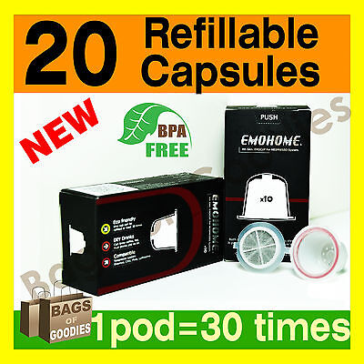 NEW 20 Refillable Empty Coffee Capsules Pods Compatible with Nespresso Machine • AUD 49.99