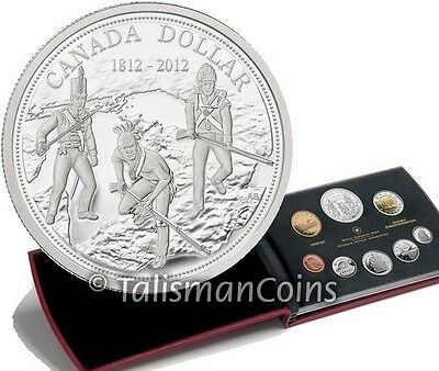 Canada 2012 8 Coin Proof Set w/ War of 1812 Bicentennial $1 Silver Proof Dollar