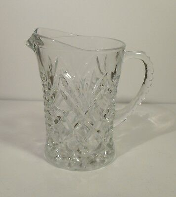 Anchor Hocking Eapg Cream Juice Pitcher Clear Glass Diamond And Fan