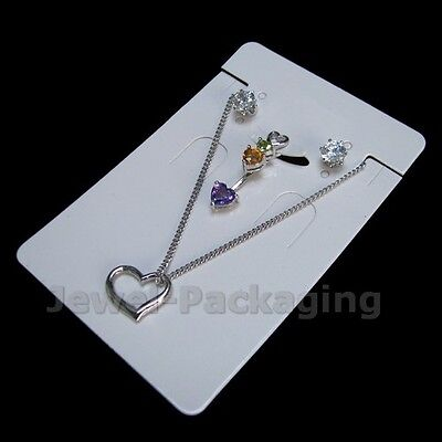 50 Pcs Sets White Blank Packing Card + Bag Necklace Pendant 6X9 cm