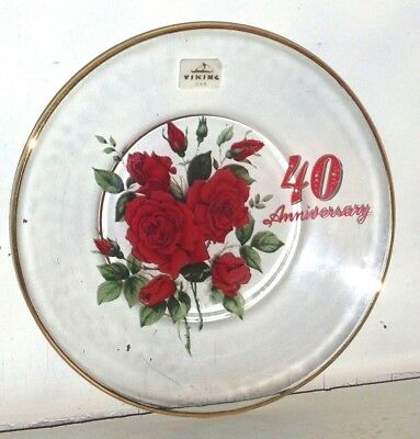 Vintage Viking Glass Gold Rim Red Roses 40th Anniversary Plate w/ Sticker