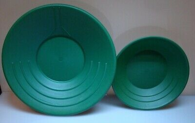 "Gold Pan Mining Panning plastic 2-piece set for Miners 14"" AND 10"" GREEN"