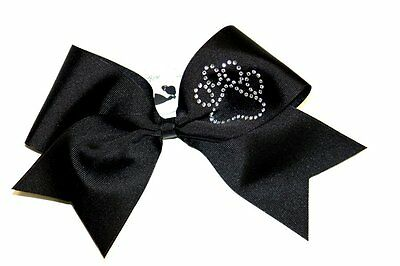 "Rhinestone Paw Print Cheer Bow - Black -  3"" XWIDE - Inquire for other colors"