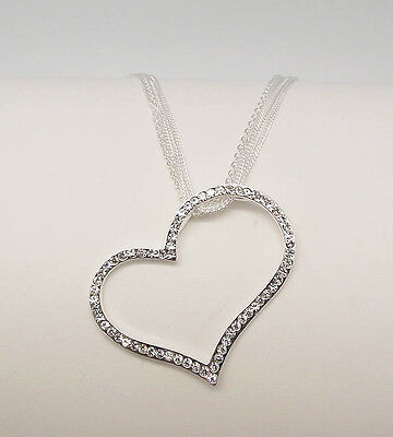ICON 18 in CLEAR CRYSTAL LARGE HEART SILVER PLATE MULTI CHAIN NECKLACE SET NEW