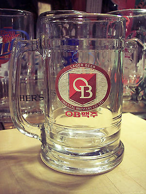 OB Lager Beer Oriental Brewery Co.Olympic Games Glass Stein Mug