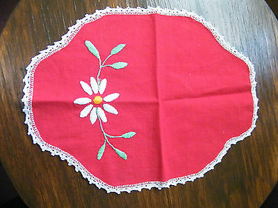 Embroidered Doily Dresser Scarf Crochet Trim 13x9 Inch Red White CUTE