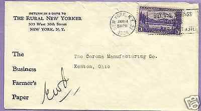 NEW YORK -  THE RURAL NEW YORKER, NEWSPAPER, SOLID 1938 CORNER CARD COVER
