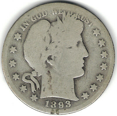 TMM* 1893-S Uncertified Silver Barber Half  Dollar AG/G