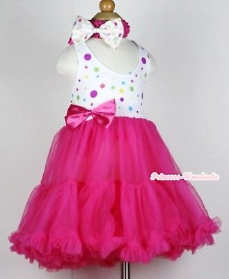 Rainbow Dots With Hot Pink ONE-PIECE Petti Dress Tutu Pettiskirt For Girl 2-8Y
