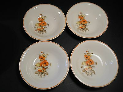 vtg Edwin M Knowles China Orange Poppy 4 Berry Bowls Semi Vitreous by Knowles
