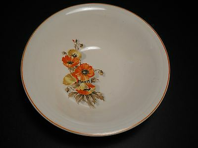 vtg Edwin M Knowles China Orange Poppy 2 Soup Bowls Semi Vitreous by Knowles