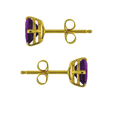 9ct 375 Yellow Gold 5mm Round Amethyst Earrings February